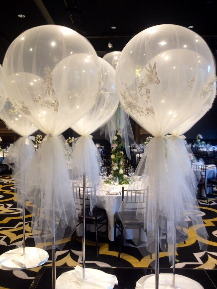 Best Diamond Clear 3Ft Balloons Wrapped In Custom Made Tulle This Month
