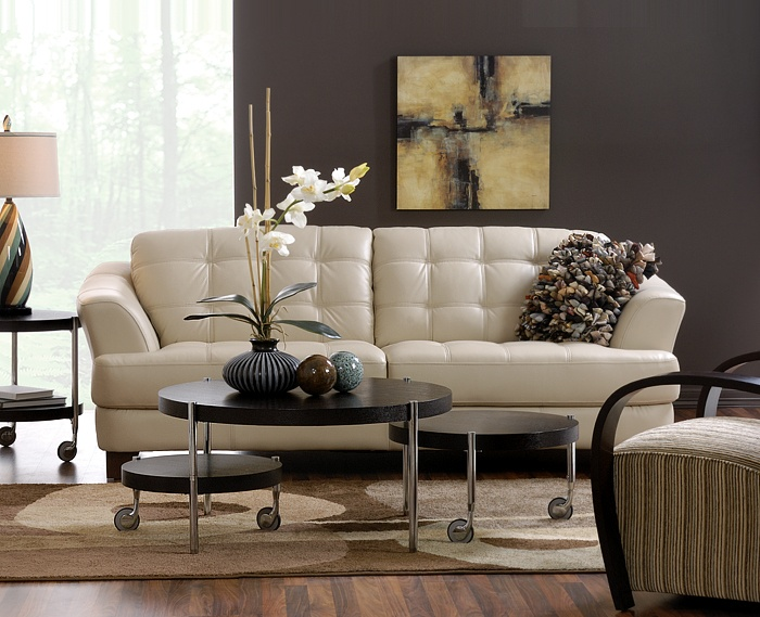 Best Delray Taupe All Leather Sofa Also Available In Red And This Month