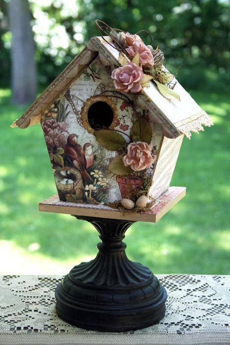 Best Birdhouse 467×700 Painted Work Decoupage Bird This Month