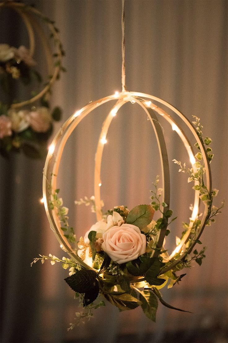 Best Blush Pink Floral Hoop Wreaths Set Of 2 In 2019 Ideas Para Boda Wedding Decorations Floral This Month