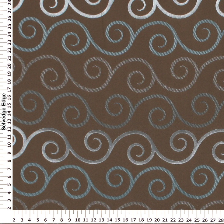Best Decorator Fabric Teal And Silver Swirls On Brown Drapery This Month