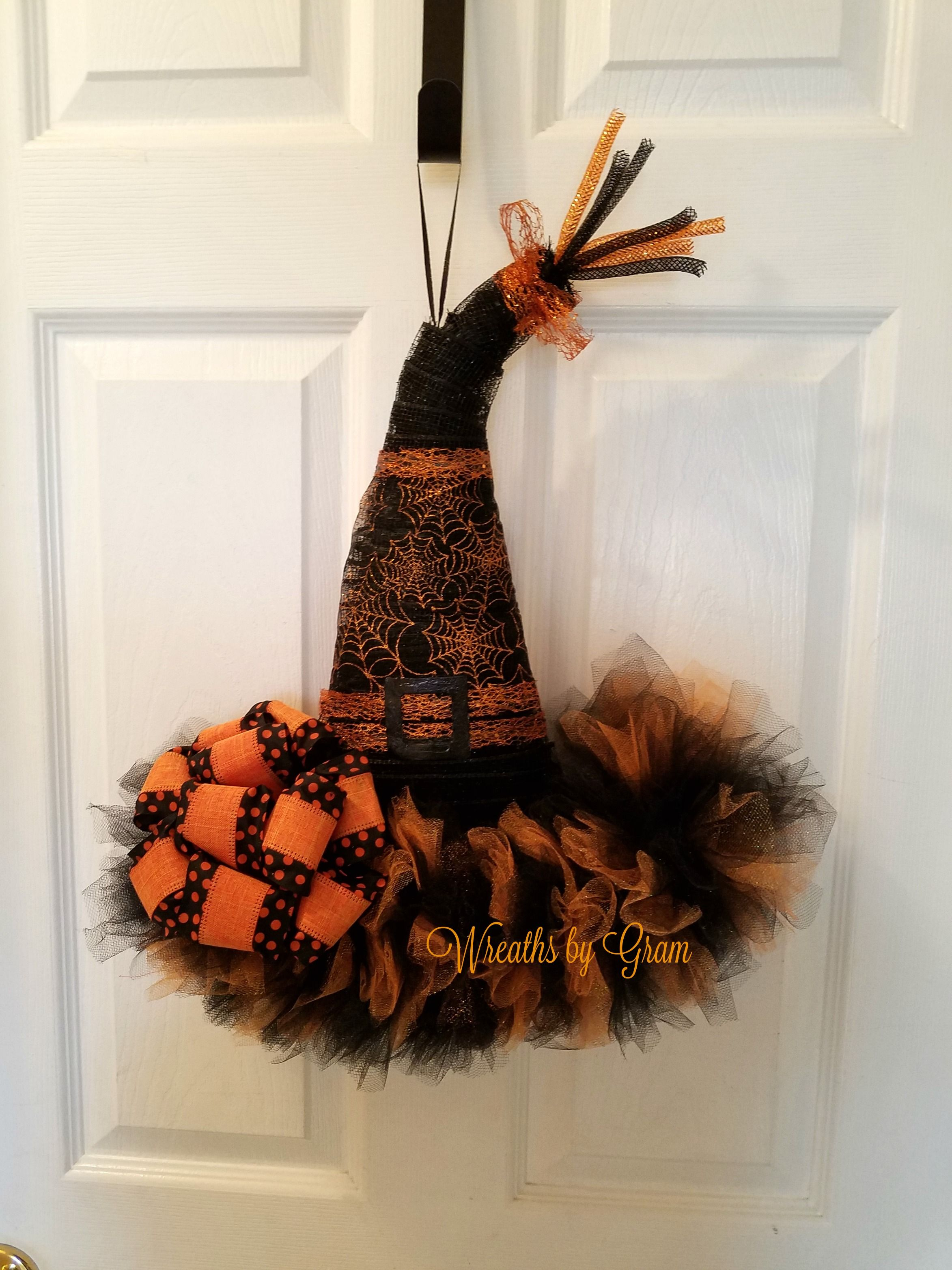 Best Witch Hat Wreath Witch Hat Door Hanger Halloween Decor This Month