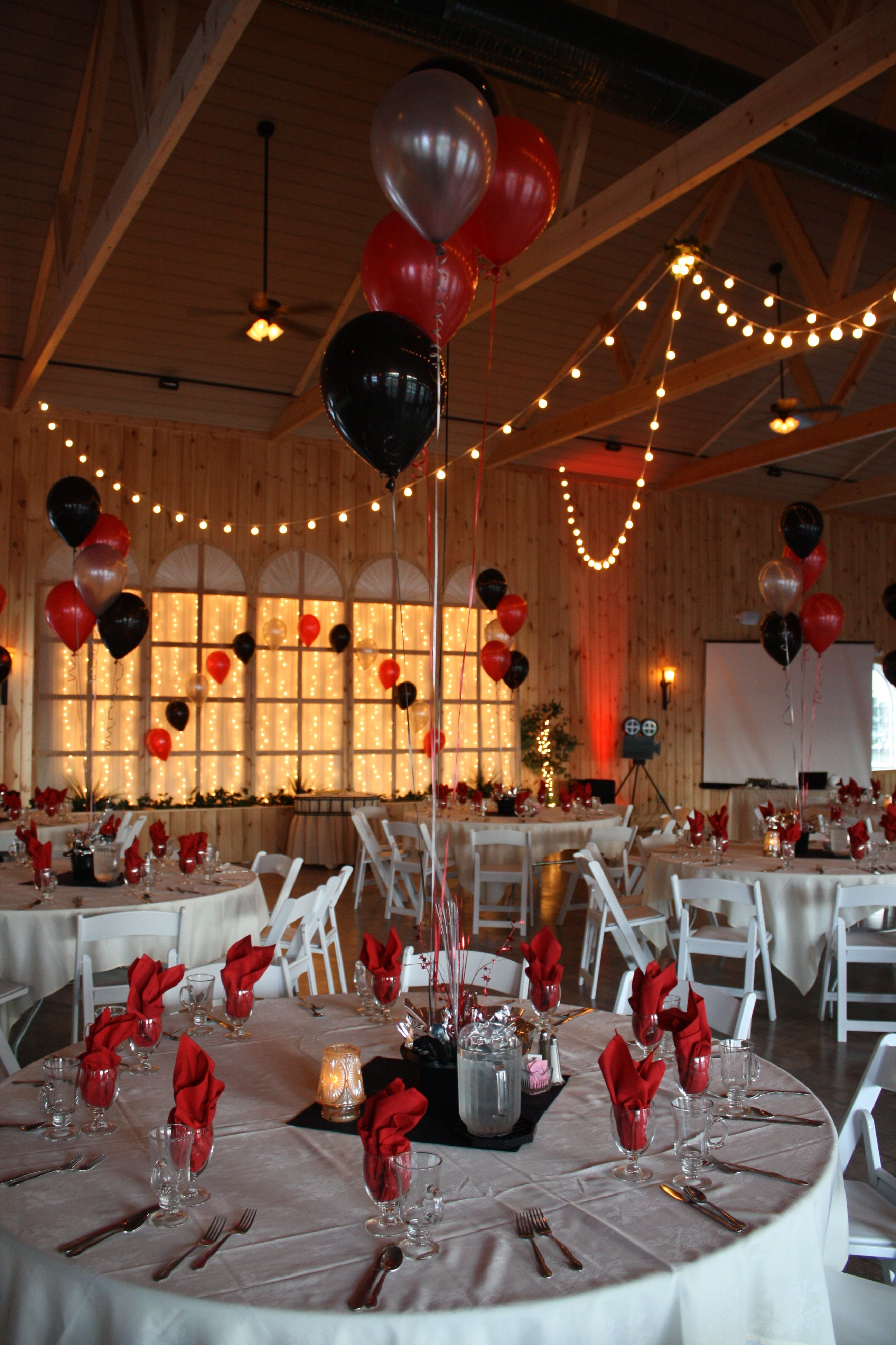 Best Hollywood Themed Prom With Black Red And Silver Balloons This Month