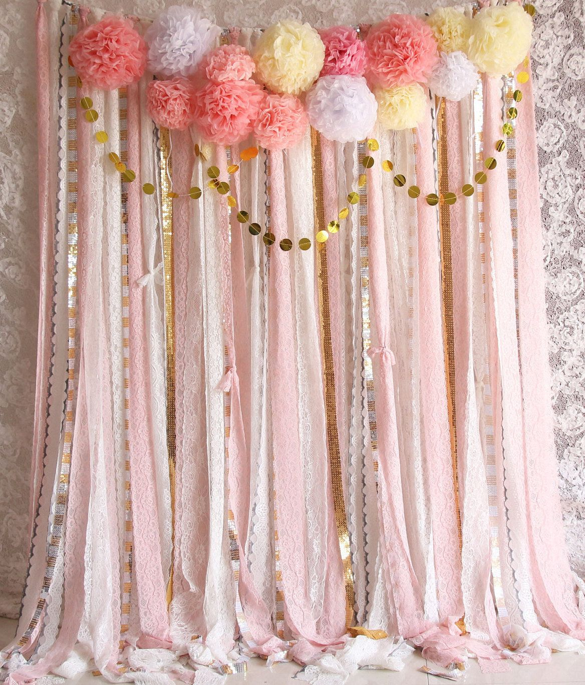 Best Pink White Lace Pom Poms Flowers Sparkle Fabric Backdrop This Month