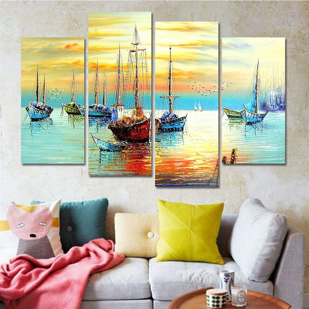 Best Drop Shipping Sail Boat Paintings Cuadros Decoracion Wall This Month