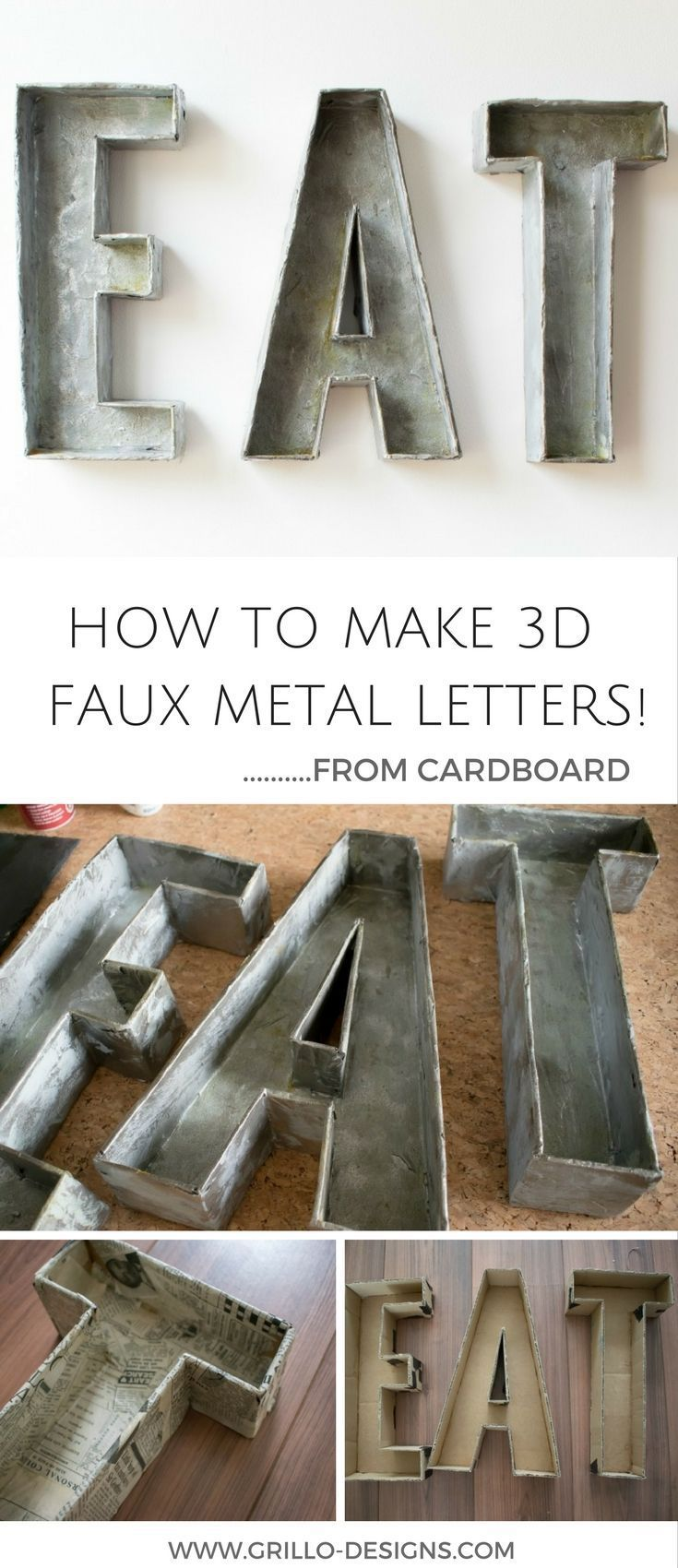 Best How To Make 3D Faux Metal Letters From Cardboard This Month