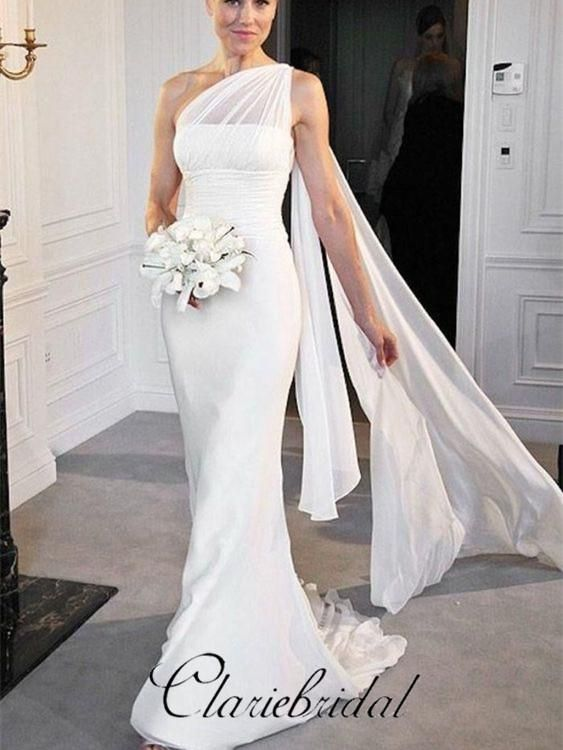 Best One Shoulder Chiffon Mermaid Bridal Gown Long Wedding This Month