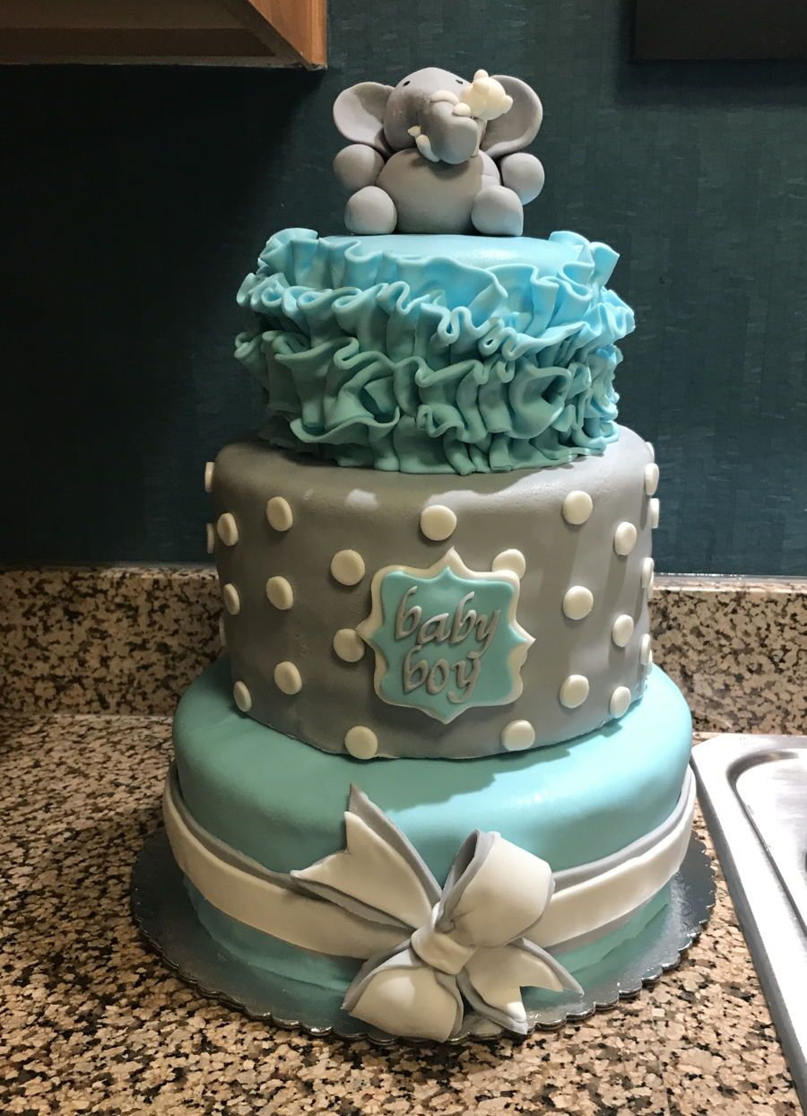 Best Elephant Baby Shower Cake Three Tier Baby Boy Elephant This Month
