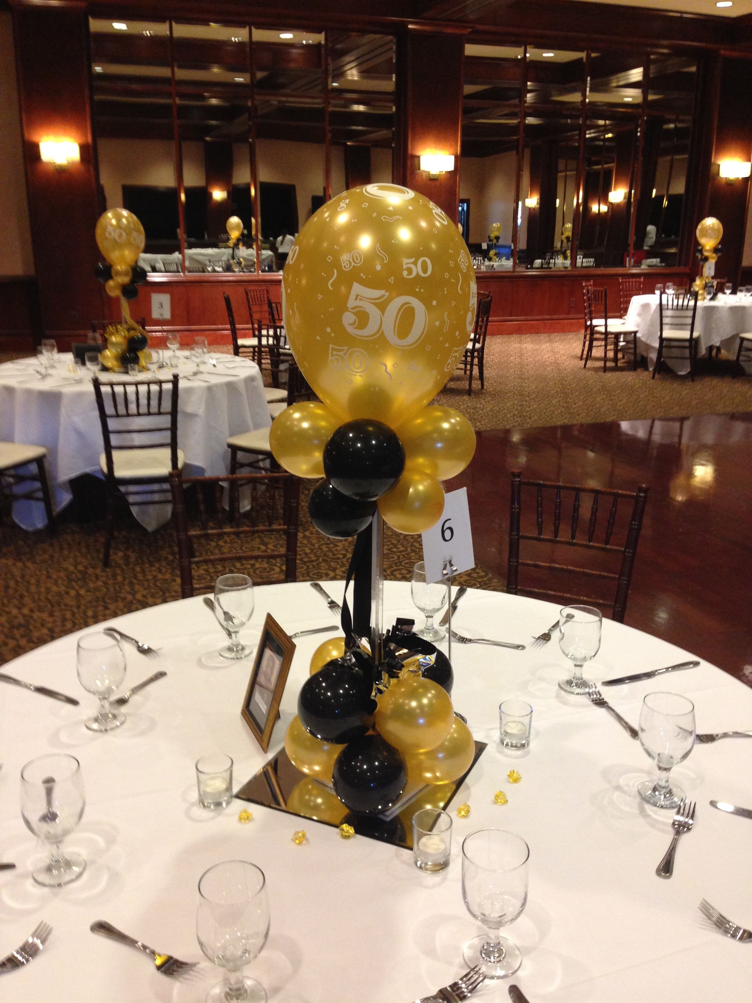 Best Black And Gold Balloon Centerpieces For A 50Th Birthday Or This Month