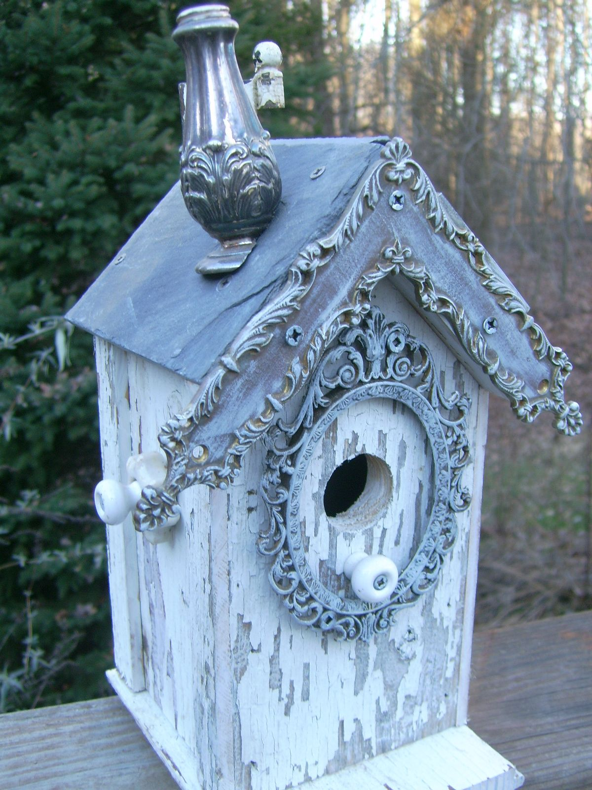 Best Shabby Chic Birdhouse With Salt Shaker Chimney Picture This Month