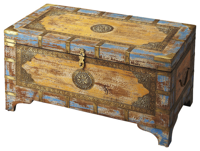 Best Butler Nador Painted Brass Inlay Storage Trunk This Month