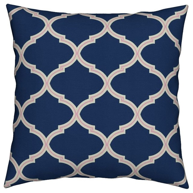 Best Navy Pink Geometric Quatrefoil Ogee Preppy Throw Pillow This Month