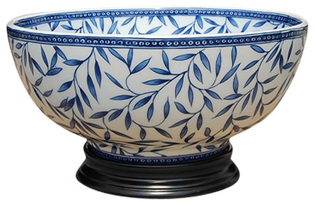 Best Blue And White Porcelain Bamboo Leaf Motif Bowl With Base This Month