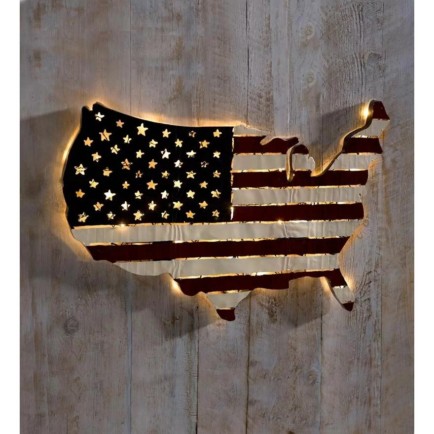 Best Plow Hearth Lighted Americana Flag Art Wall Décor This Month