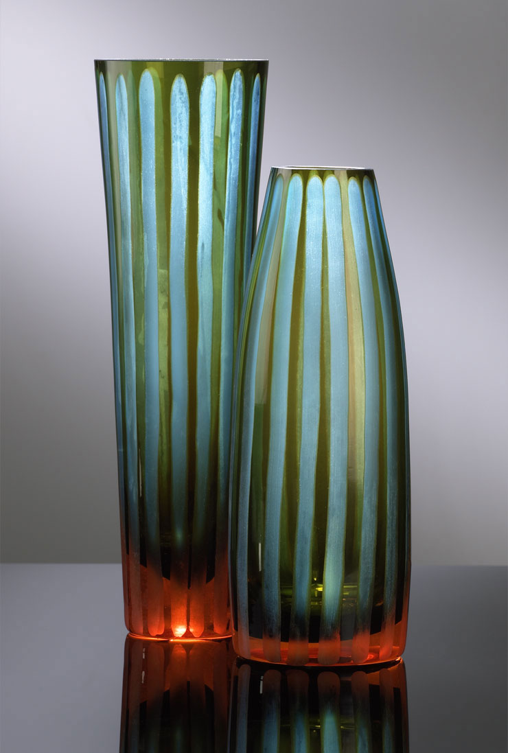 Best Large Stripe Chiseled Blue Glass Vase By Cyan Design Each This Month