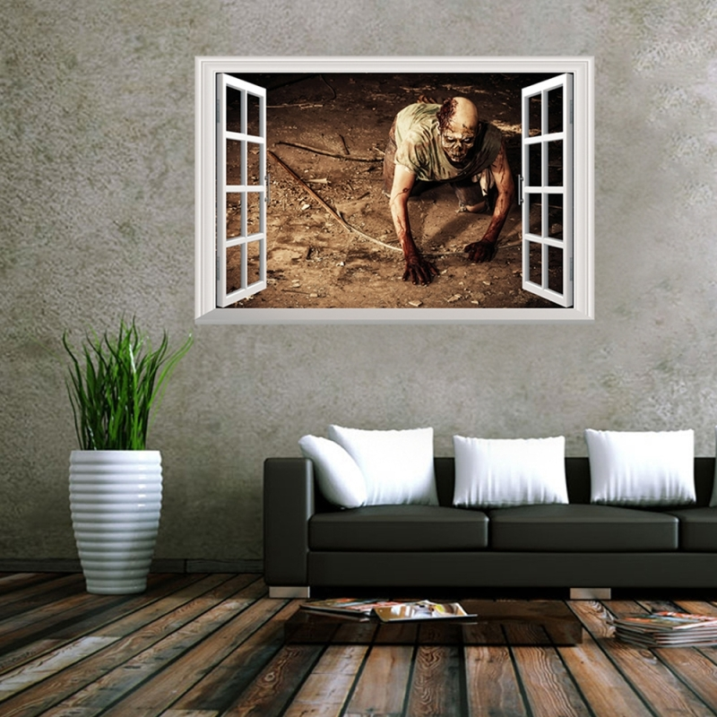 Best Creative 3D Fake Windows Wall Stickers Halloween Crawling This Month