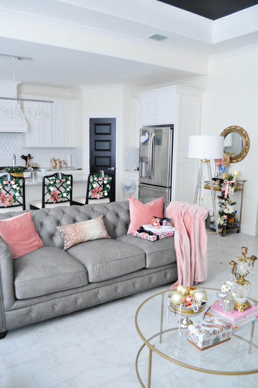 Best 2017 Winter Eclectic Holiday Home Tour Blush Silver Gold Decor Monica Wants It This Month