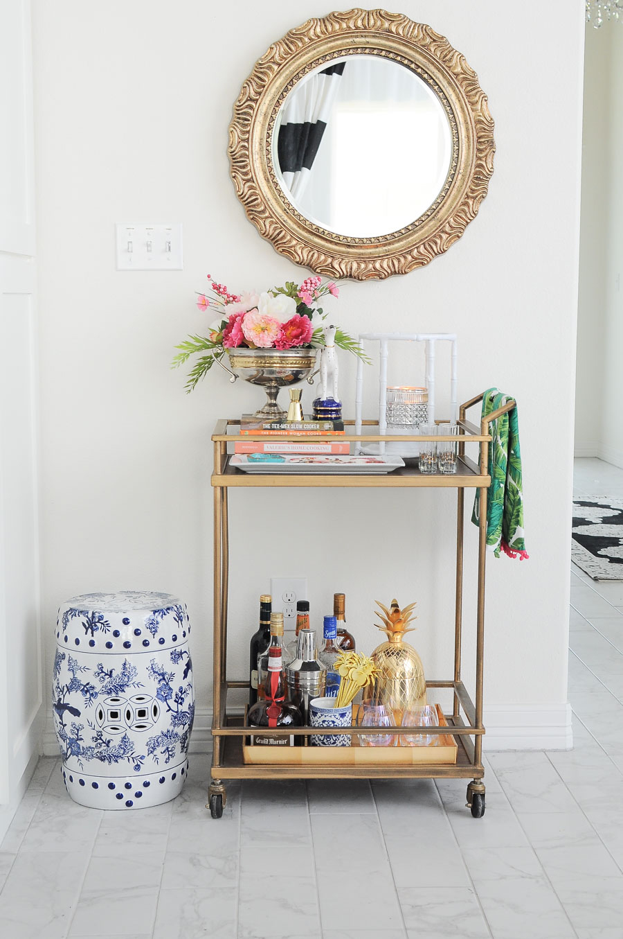 Best Chic Glam Floral Spring Bar Cart Decor Ideas Monica This Month