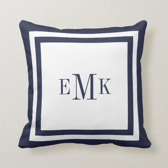 Best Navy And White Preppy Ribbon Dots Custom Monogram Throw This Month