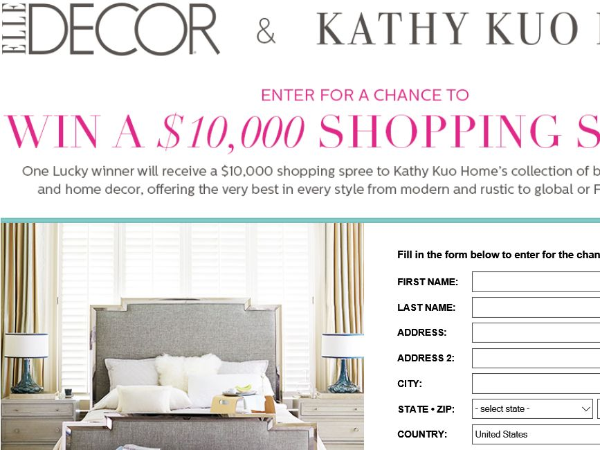 Best Elle Decor Kathy Kuo Sweepstakes This Month