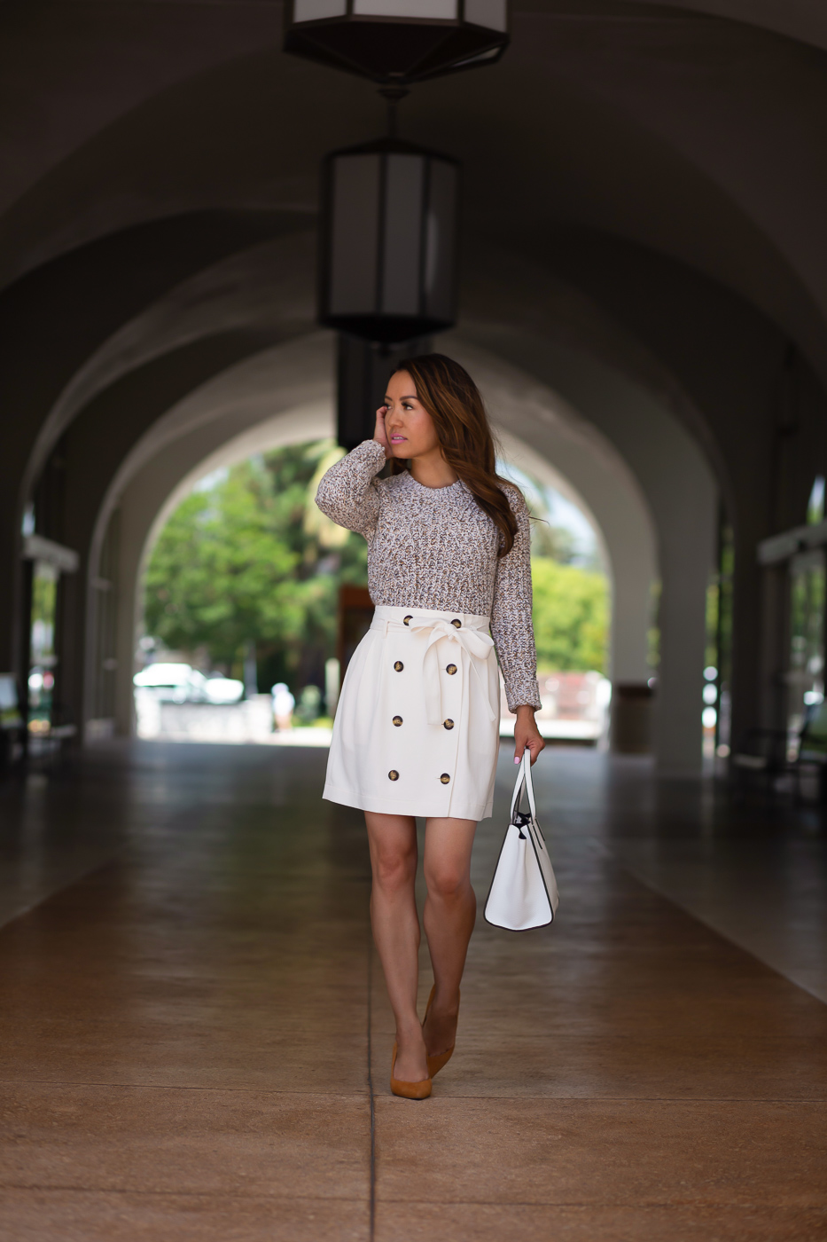 Best Banana Republic White Paperbag Skirt Camel Sweater 1 11 This Month