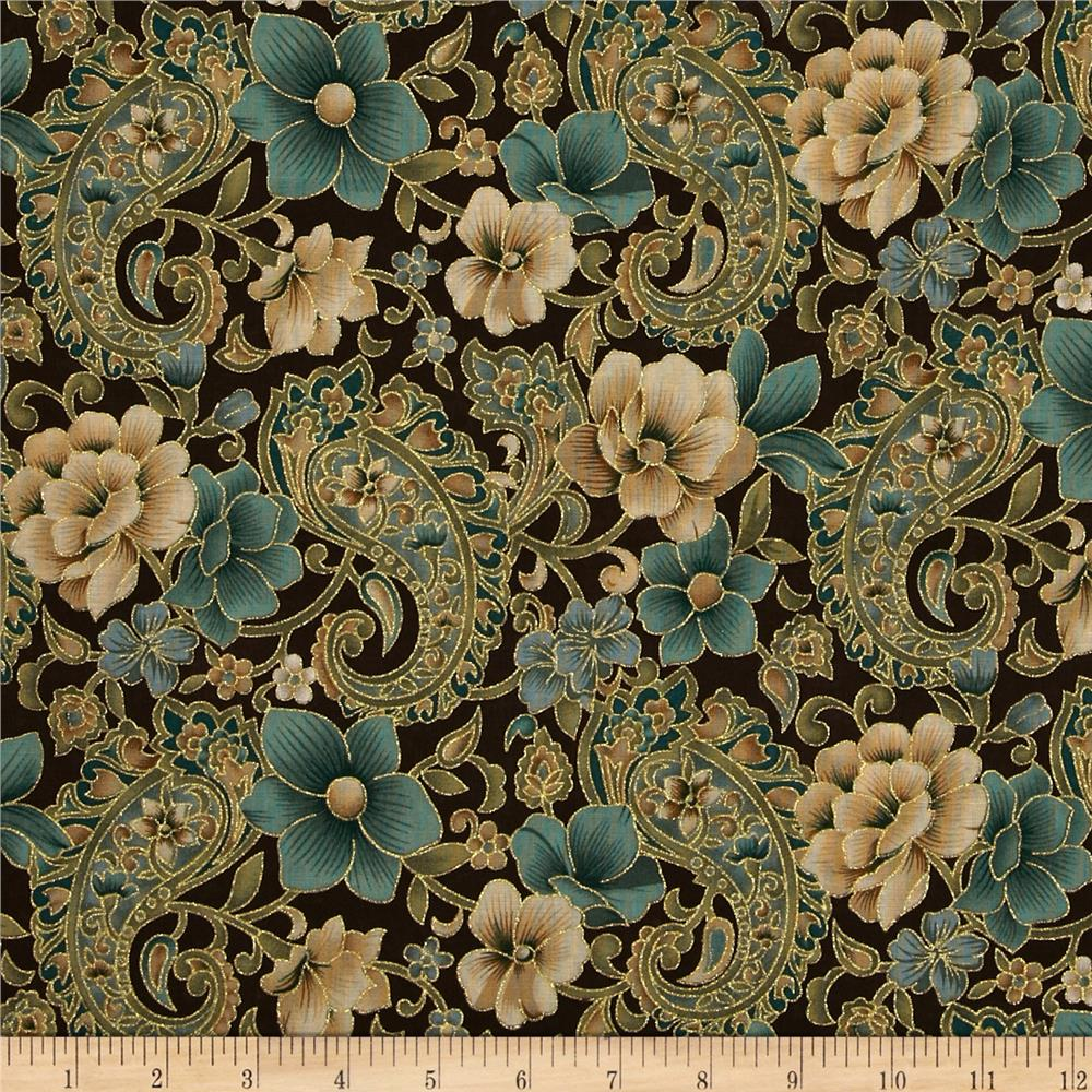 Best Marrakech Metallic Paisley Floral Brown Discount This Month