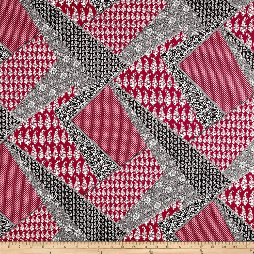 Best Italian Designer Rayon Jersey Knit Patchwork Red This Month