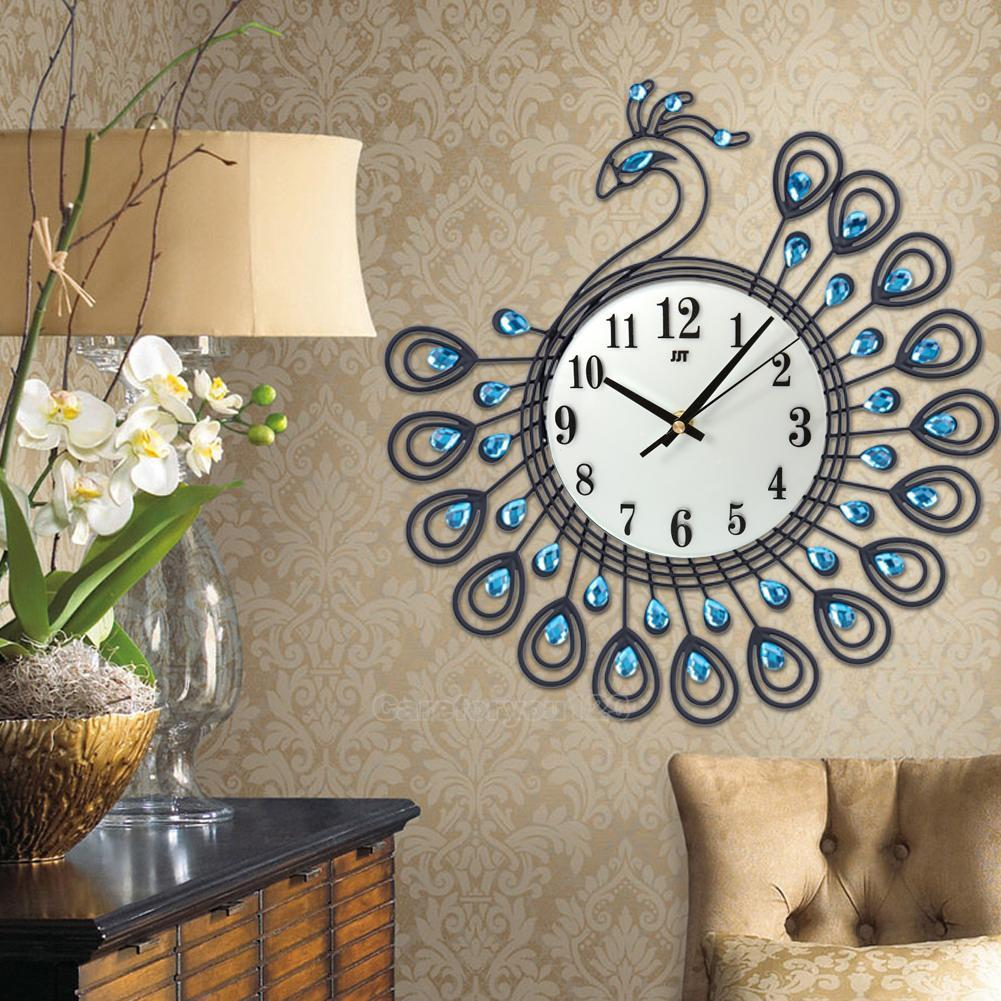 Best Luxury Diamond Peacock Large Wall Clocks Metal Living Room This Month