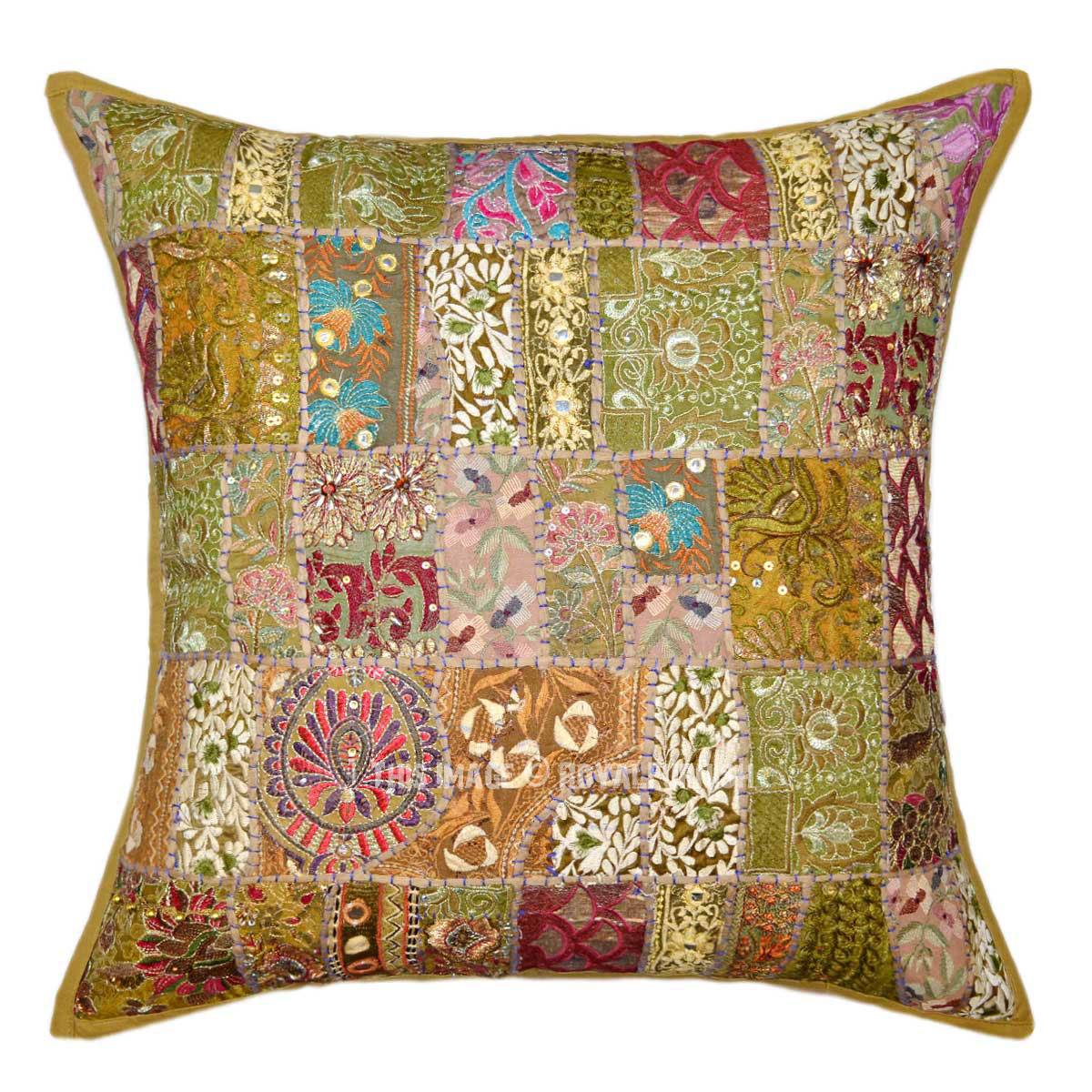 Best 24X24 Green Boho Style Patchwork Embroidered Decorative This Month
