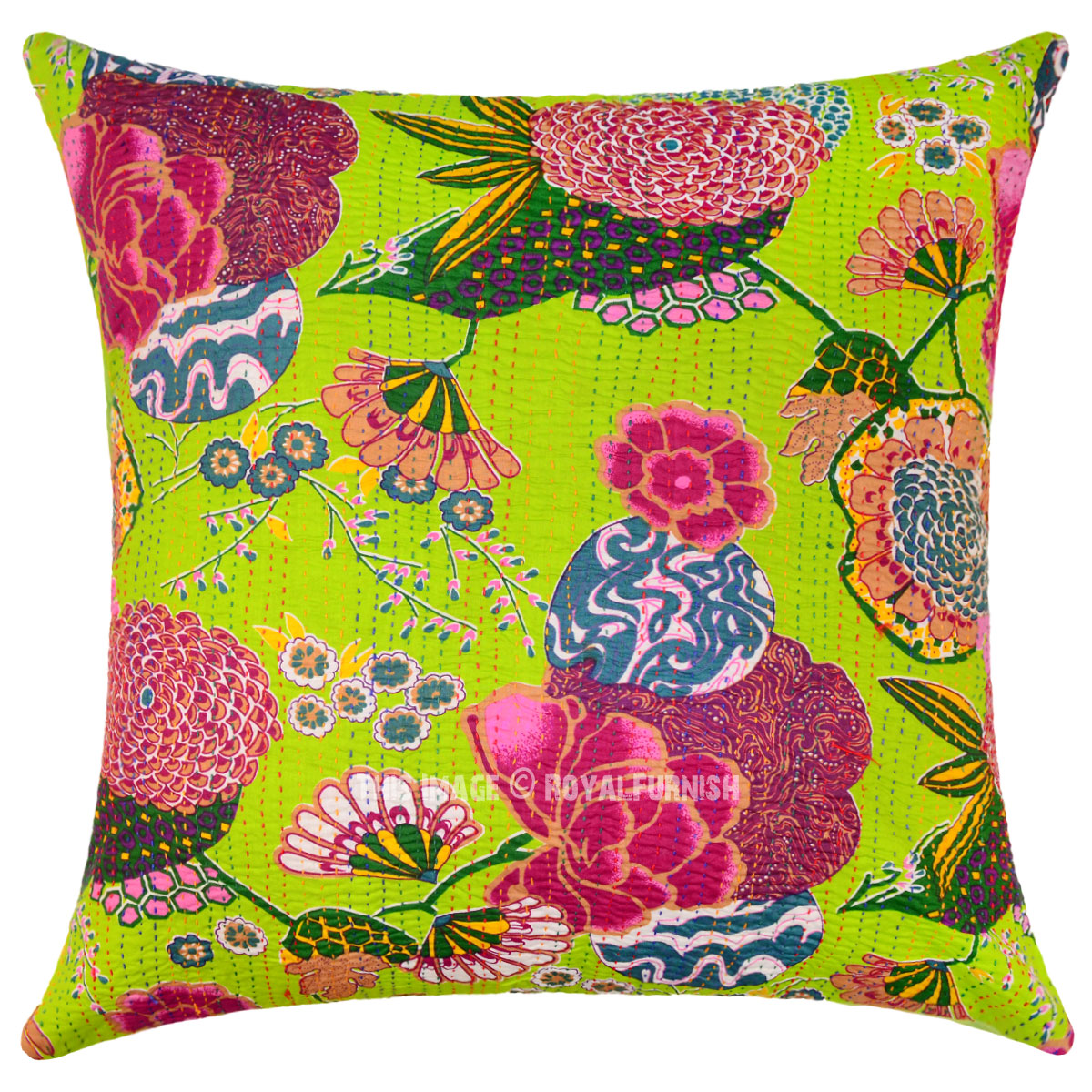Best Green Decorative Tropical Kantha Throw Pillow Cover 24X24 This Month