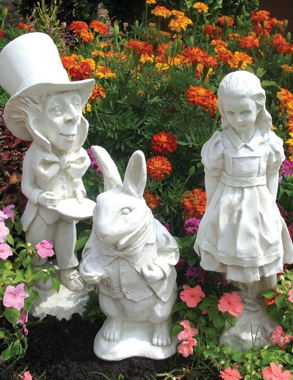 Best Alice In Wonderland Garden Statue Set White This Month