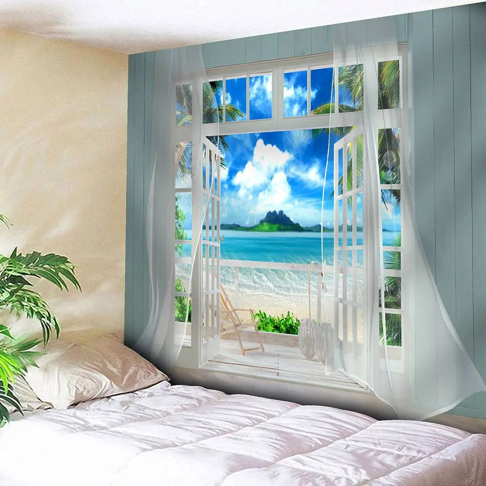 Best 2019 3D Faux Window Seascape Printed Wall Art Tapestry This Month
