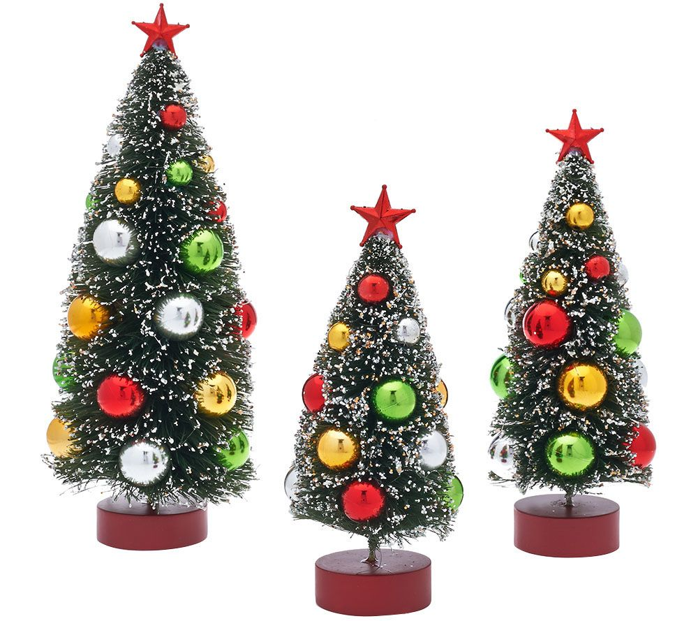 Best Set Of 3 Graduated Bottle Brush Trees With Decorations This Month