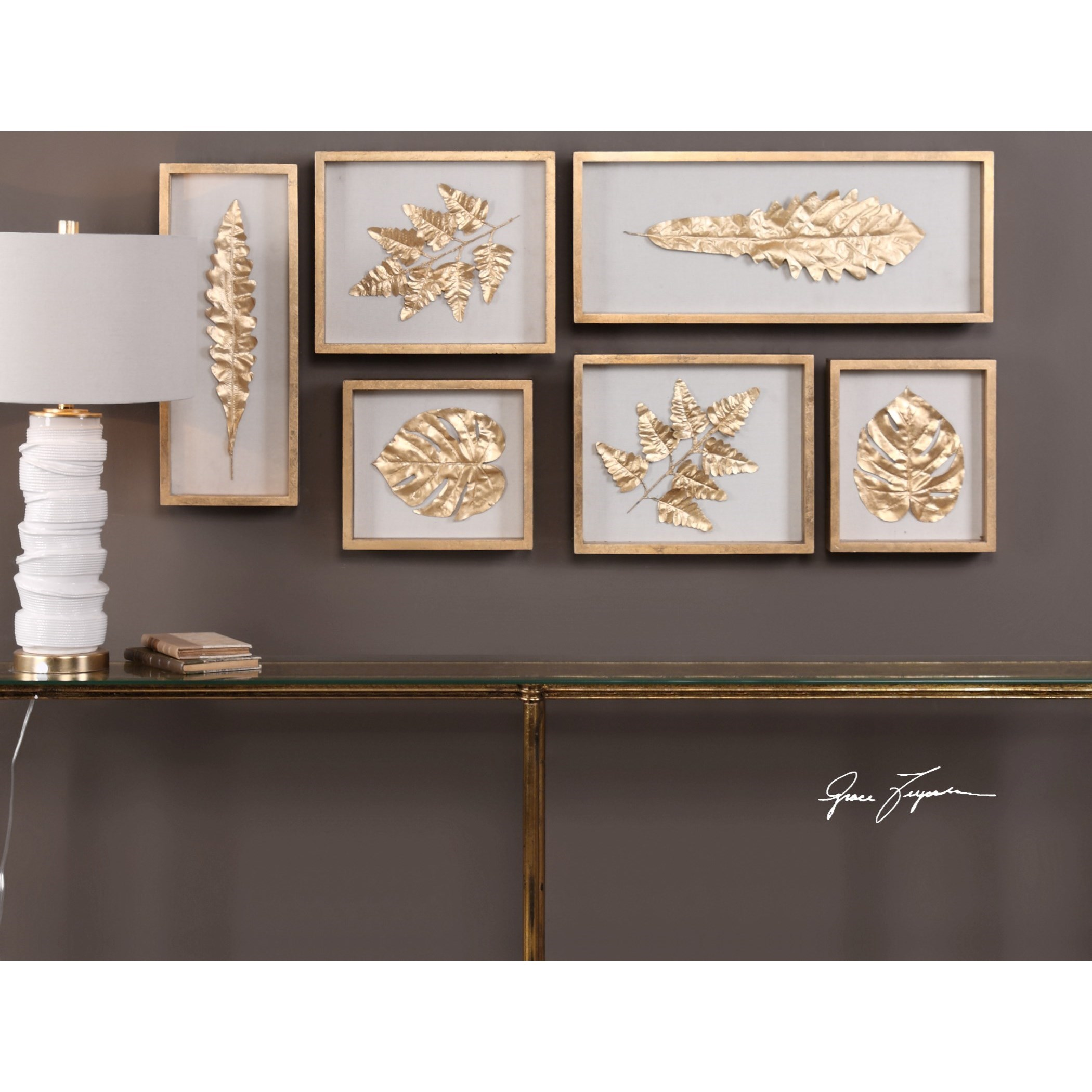 Best Uttermost Alternative Wall Decor 04074 Golden Leaves This Month