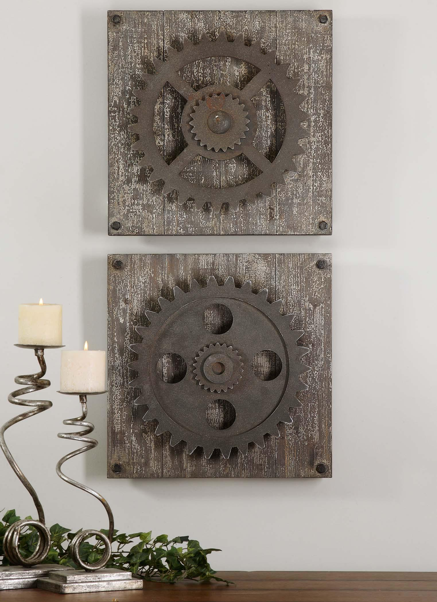 Best Uttermost Alternative Wall Decor 13828 Rustic Gears Del This Month