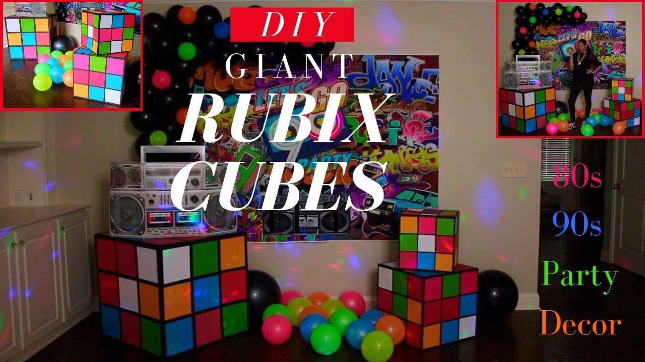 Best 80S 90S Party Decorations Diy Giant Rubix Cubes This Month
