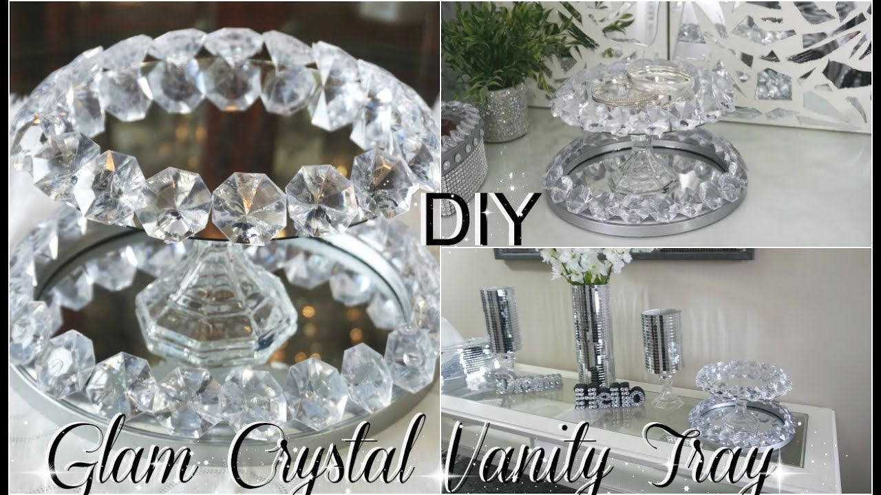 Best Diy Dollar Store Bling Crystal Mirror Vanity Tray Home This Month