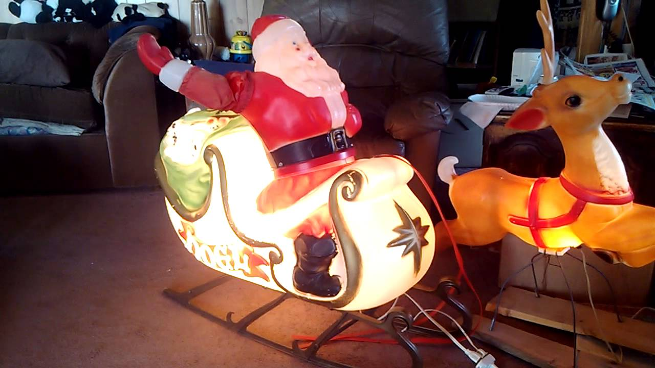 Best Santa In Sleigh Empire Blowmold Rare Animated Turns And This Month