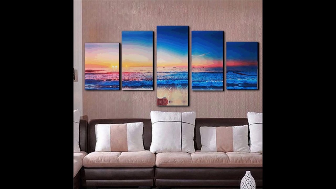 Best 5 Panels Modern Abstract Sunset Painting Canvas Beach Wall This Month