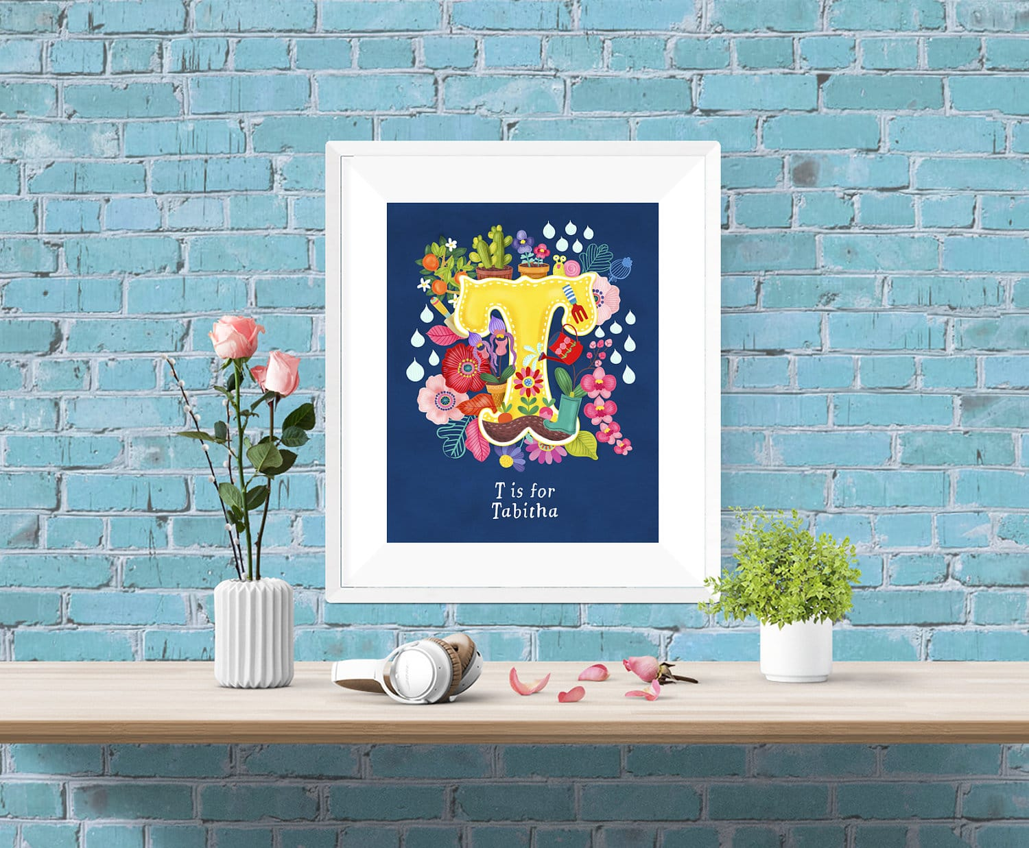 Best Personalised Custom Initial Letter Floral Poster Wall Art This Month