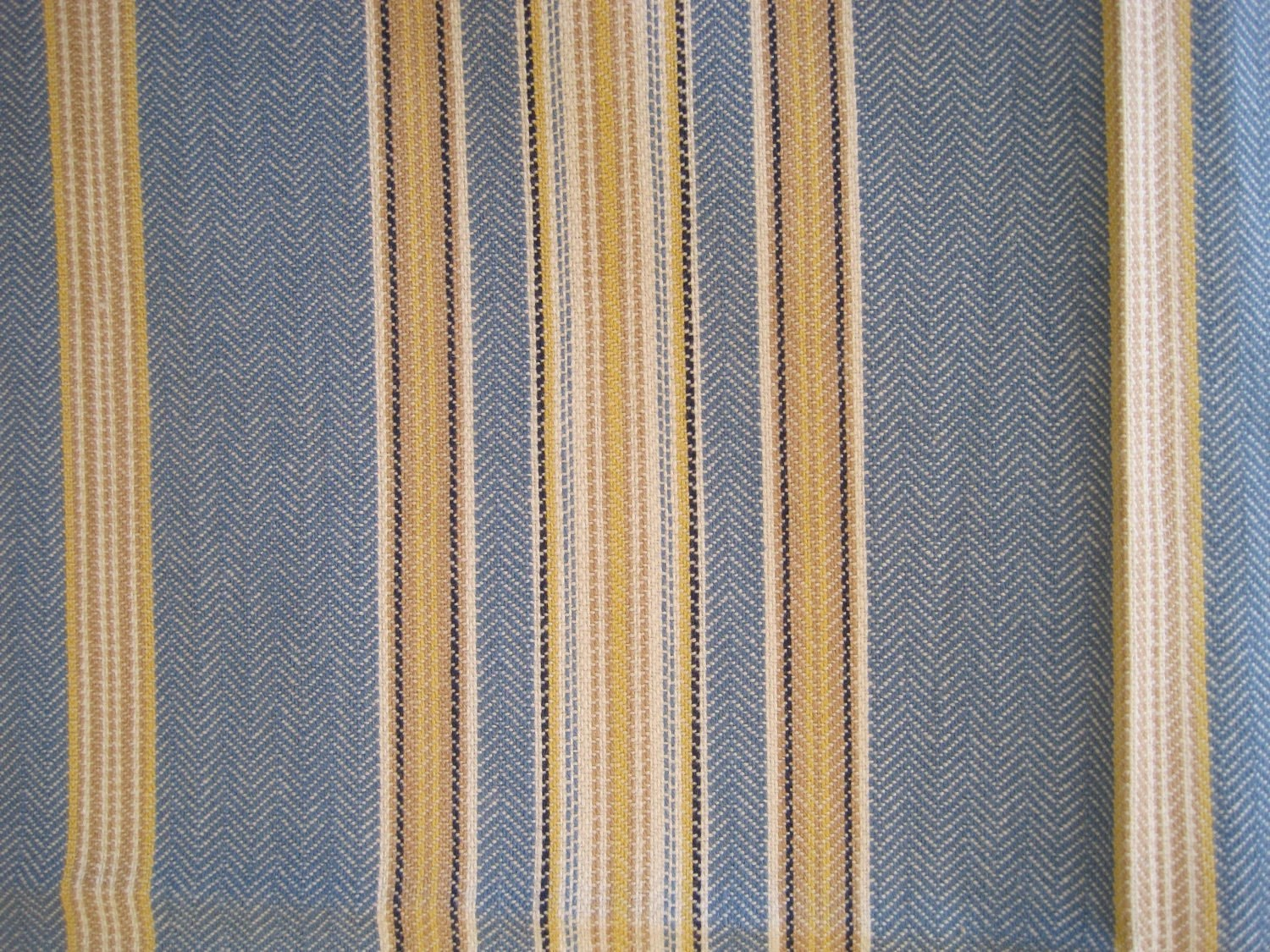 Best Fabric Home Decor Upholstery Stripe Blue White Yellow 1 Yard This Month