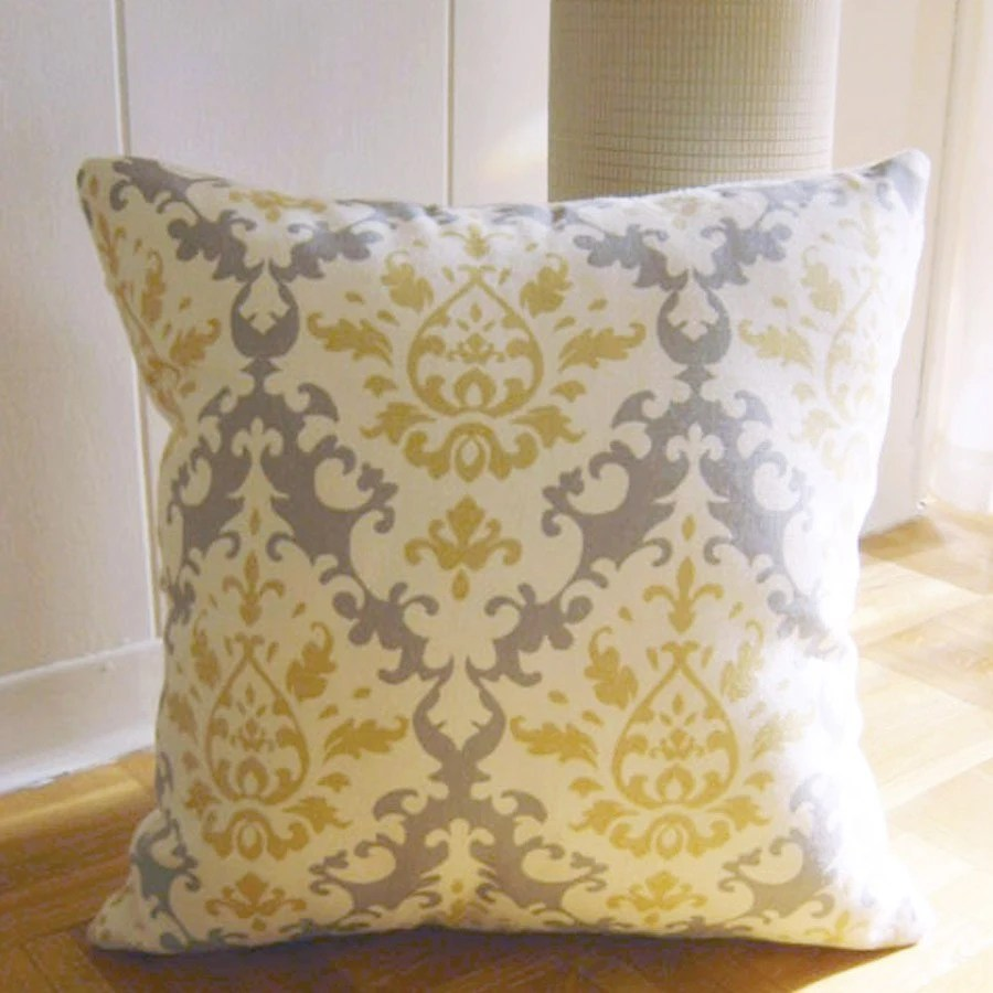 Best Throw Pillow In Damask Pattern Yellow Grey This Month