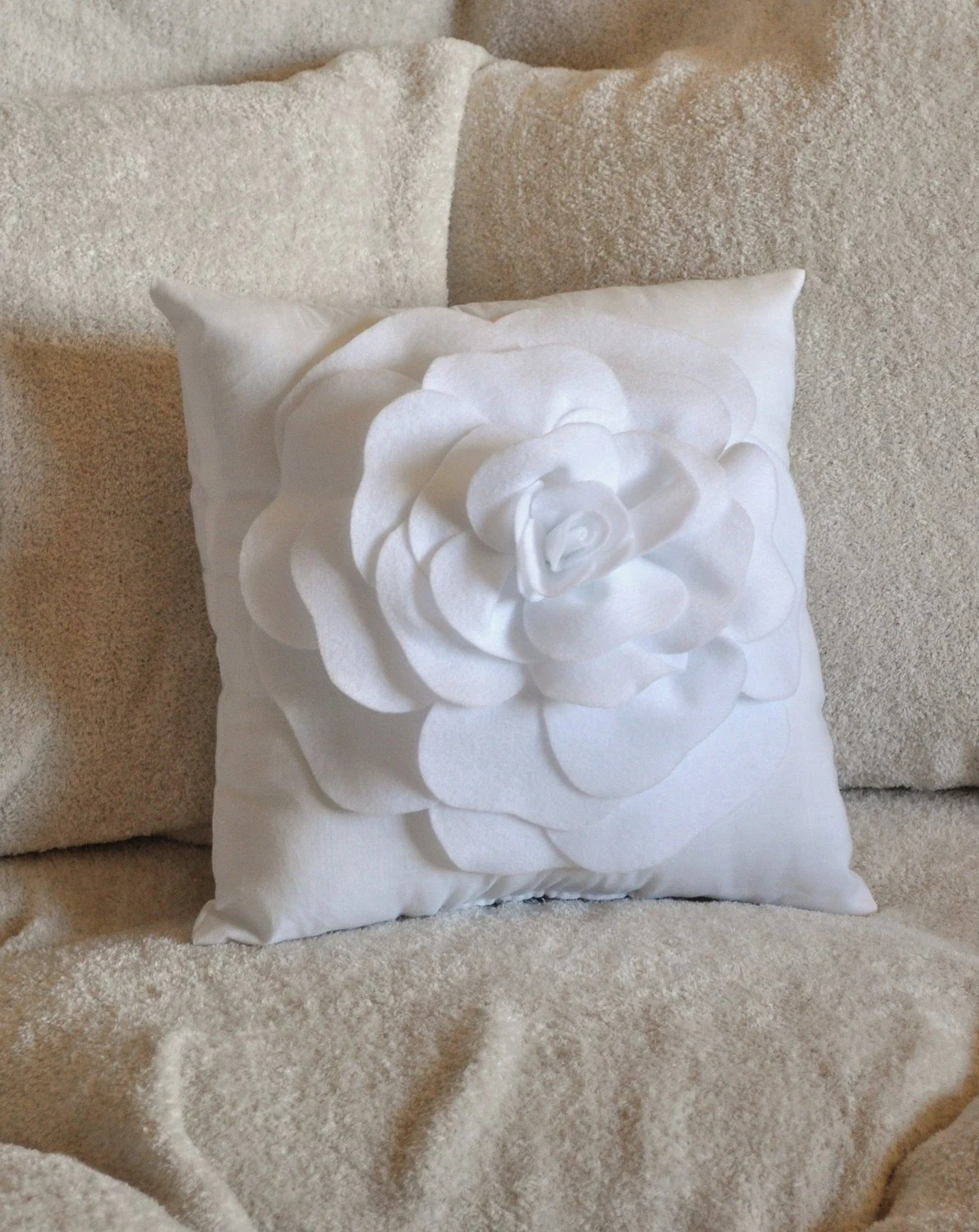 Best White Decorative Pillow White Rose Pillow 14 X 14 By Bedbuggs This Month