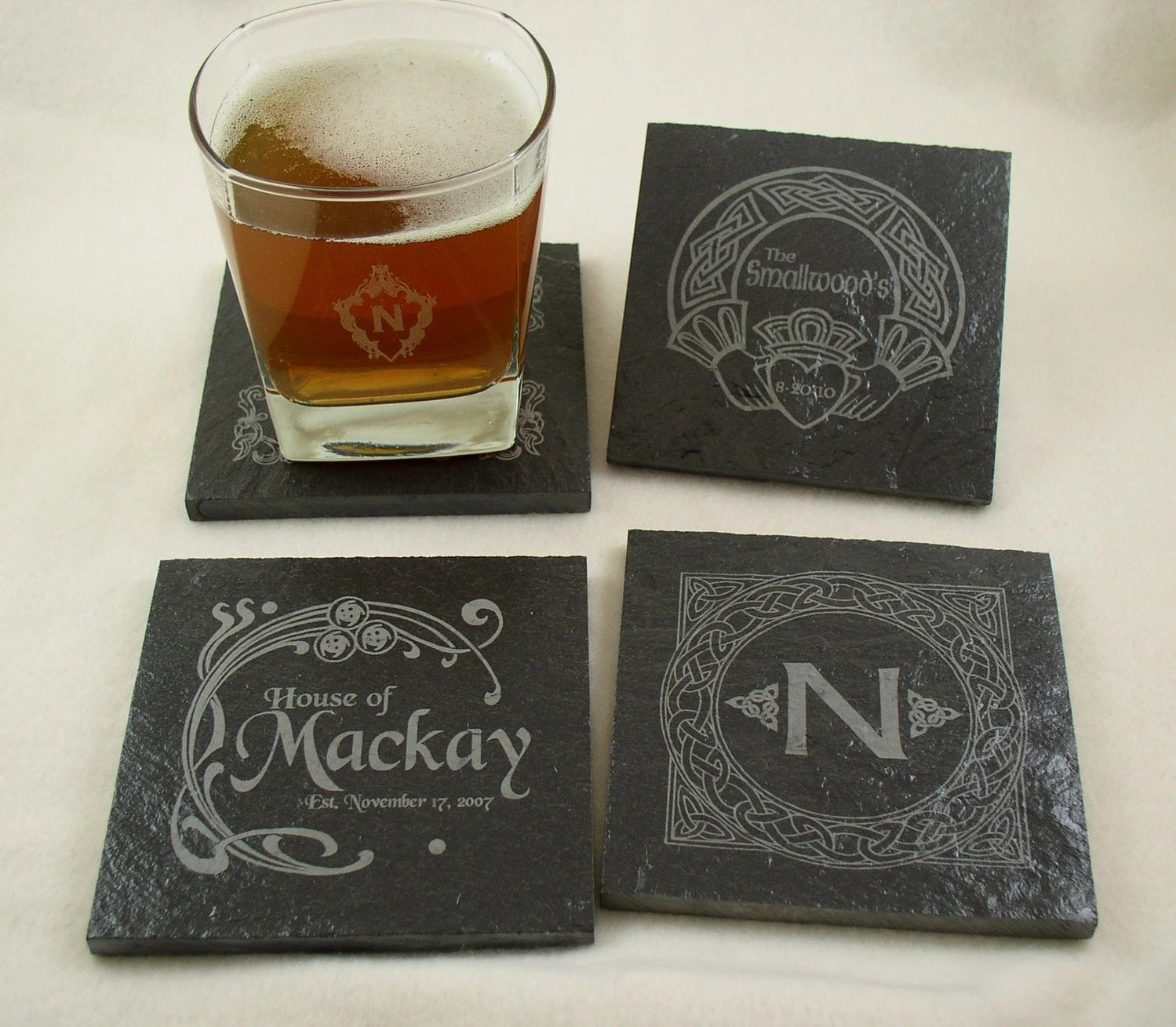 Best Personalized Slate Drink Coasters Set Of 4 Engraved With This Month