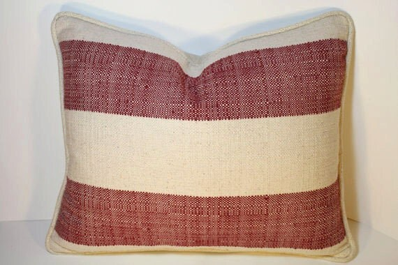 Best Decorative Pillow 16 By 20 Inch Ranch Stripe Red Natural This Month