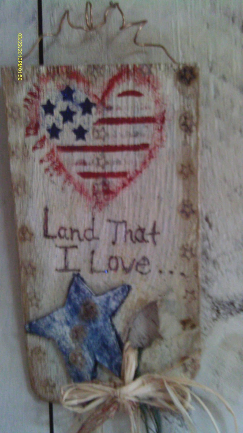 Best Primitive Americana Patriotic Rustic Wall Or Door Hanging This Month