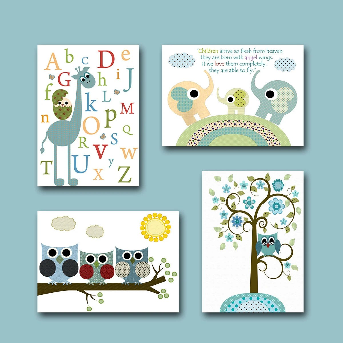 Best Childrens Wall Art Baby Room Decor Owls Baby Boy Nursery Print This Month