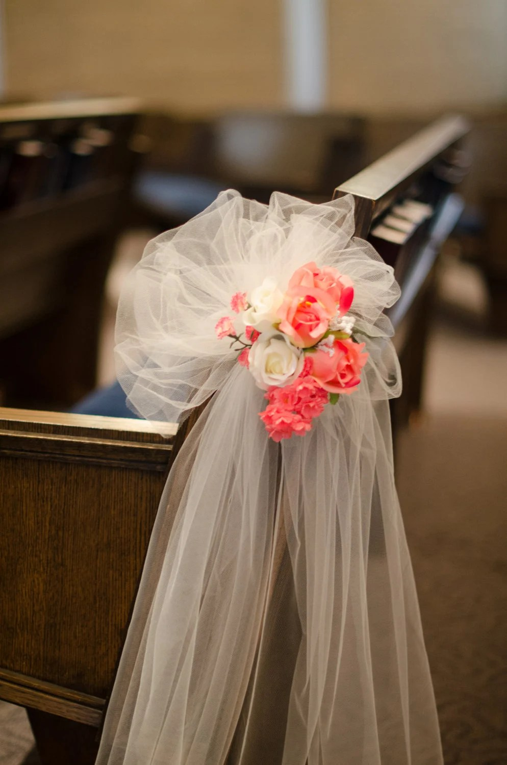 Best Wedding Aisle Decoration Pew Bow Coral Flowers Pink White Set This Month