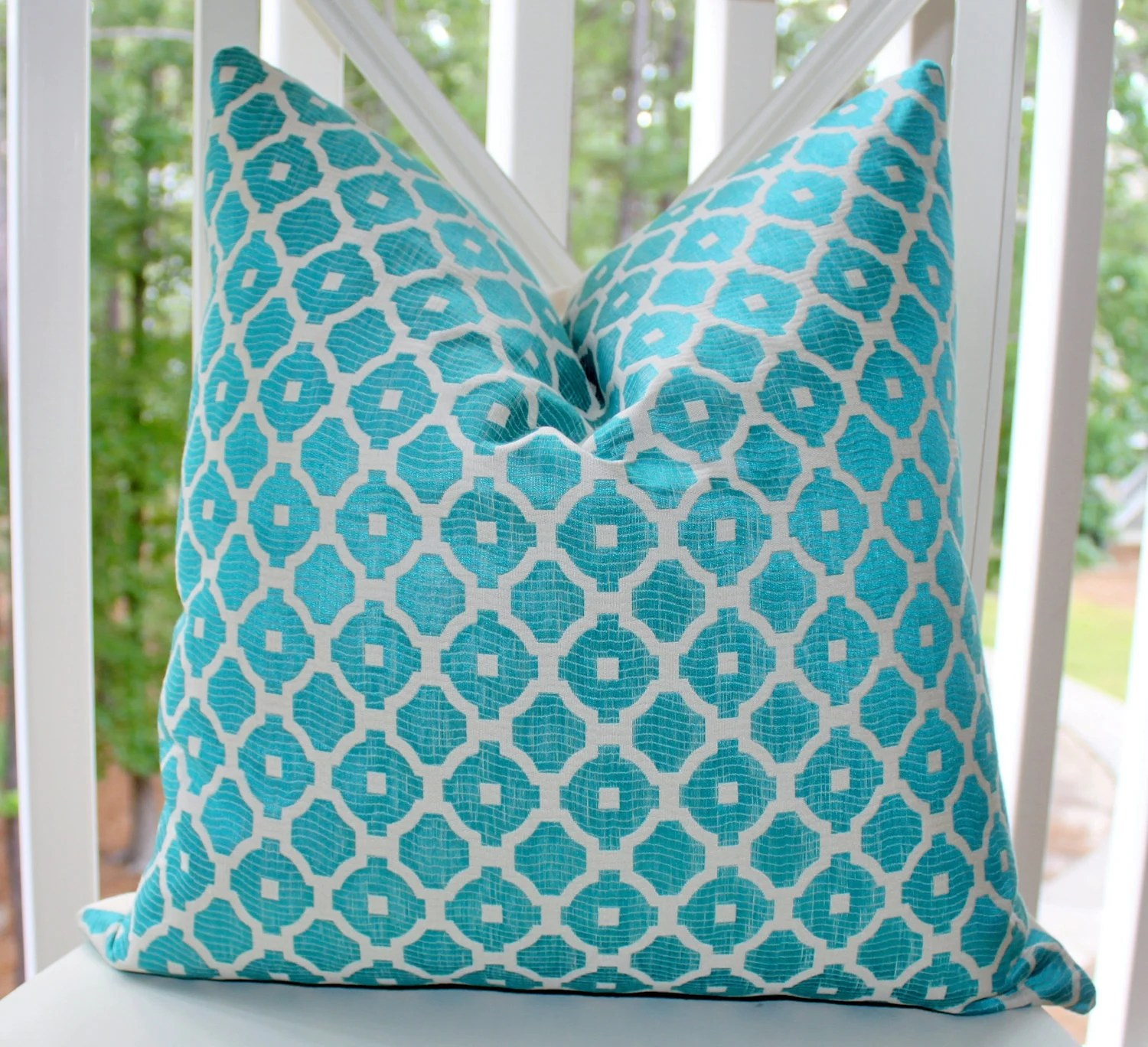Best Decorative Pillow Cover Aqua Blue Turquoise By Motifpillows This Month