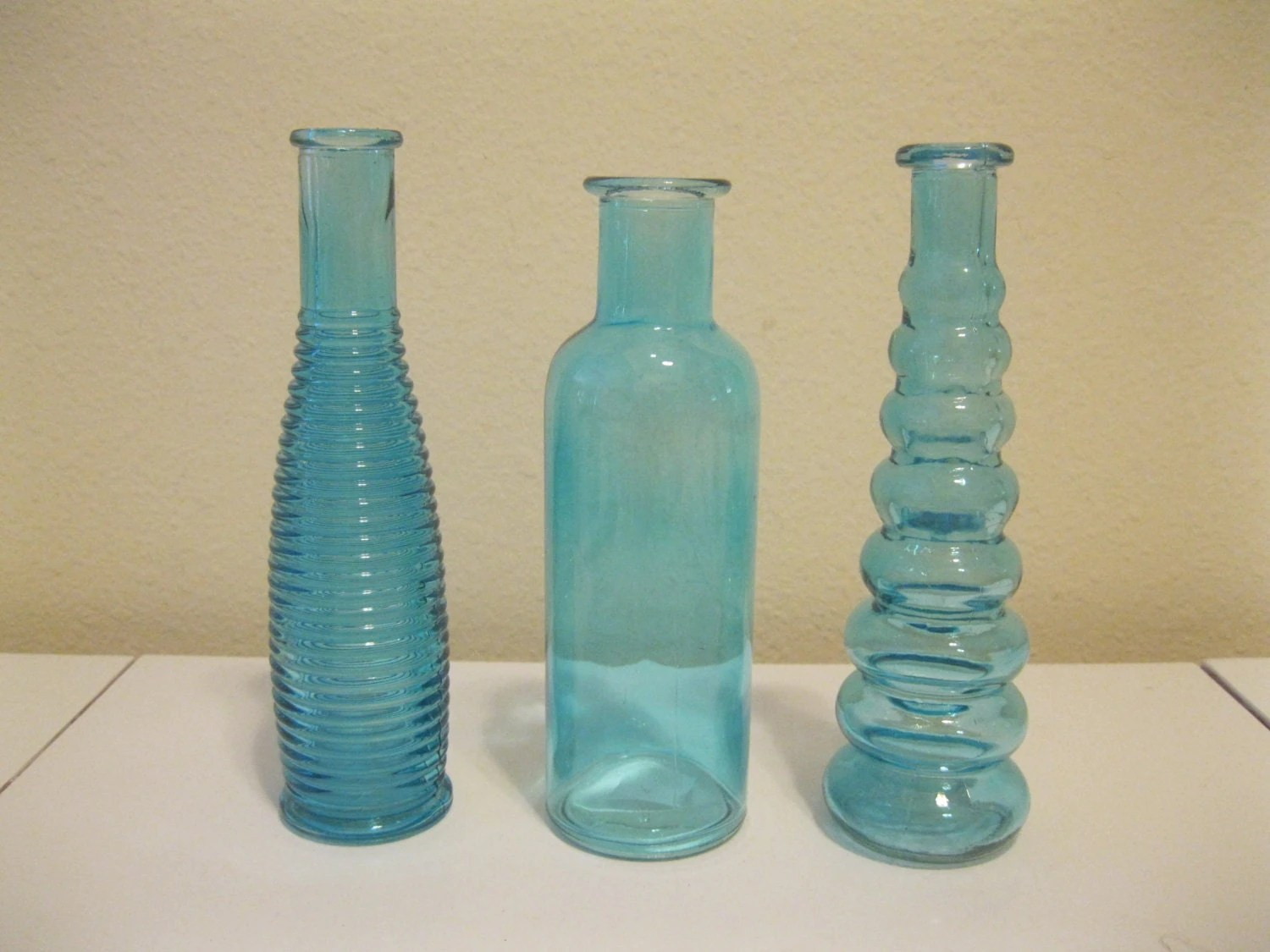 Best 3 Blue Decorative Colored Glass Bottles Floral Bud Vase This Month
